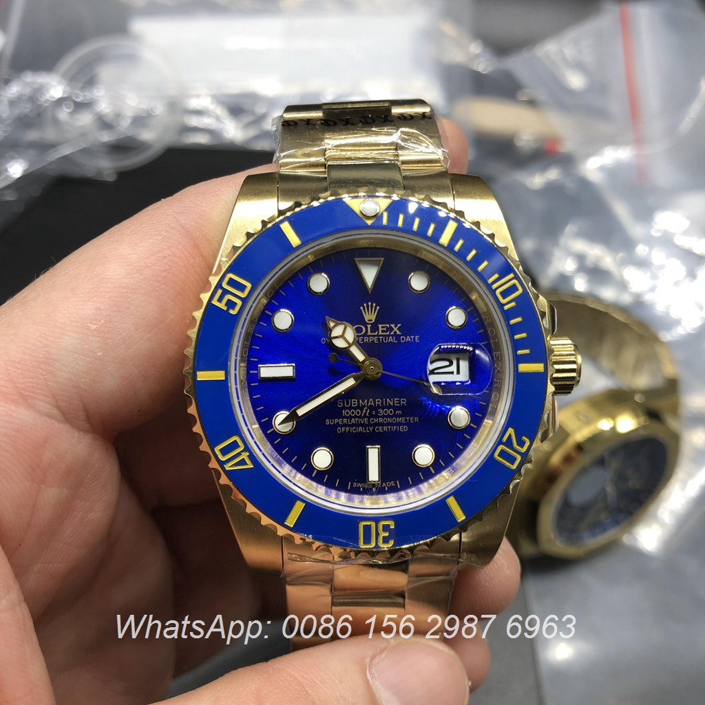 R025AS10, Rolex SUB Gold case blue dial