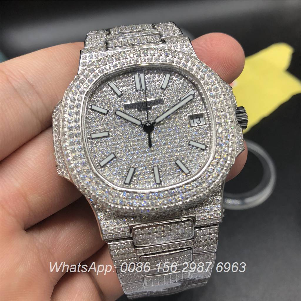 P260WT5, Patek Philippe Nautilus 5719 full diamonds Silver