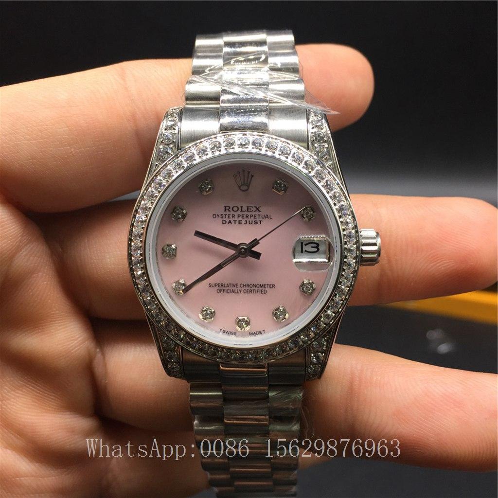 R030Z2, Rolex Datejust Women 31mm Diamonds bezel Pink dial