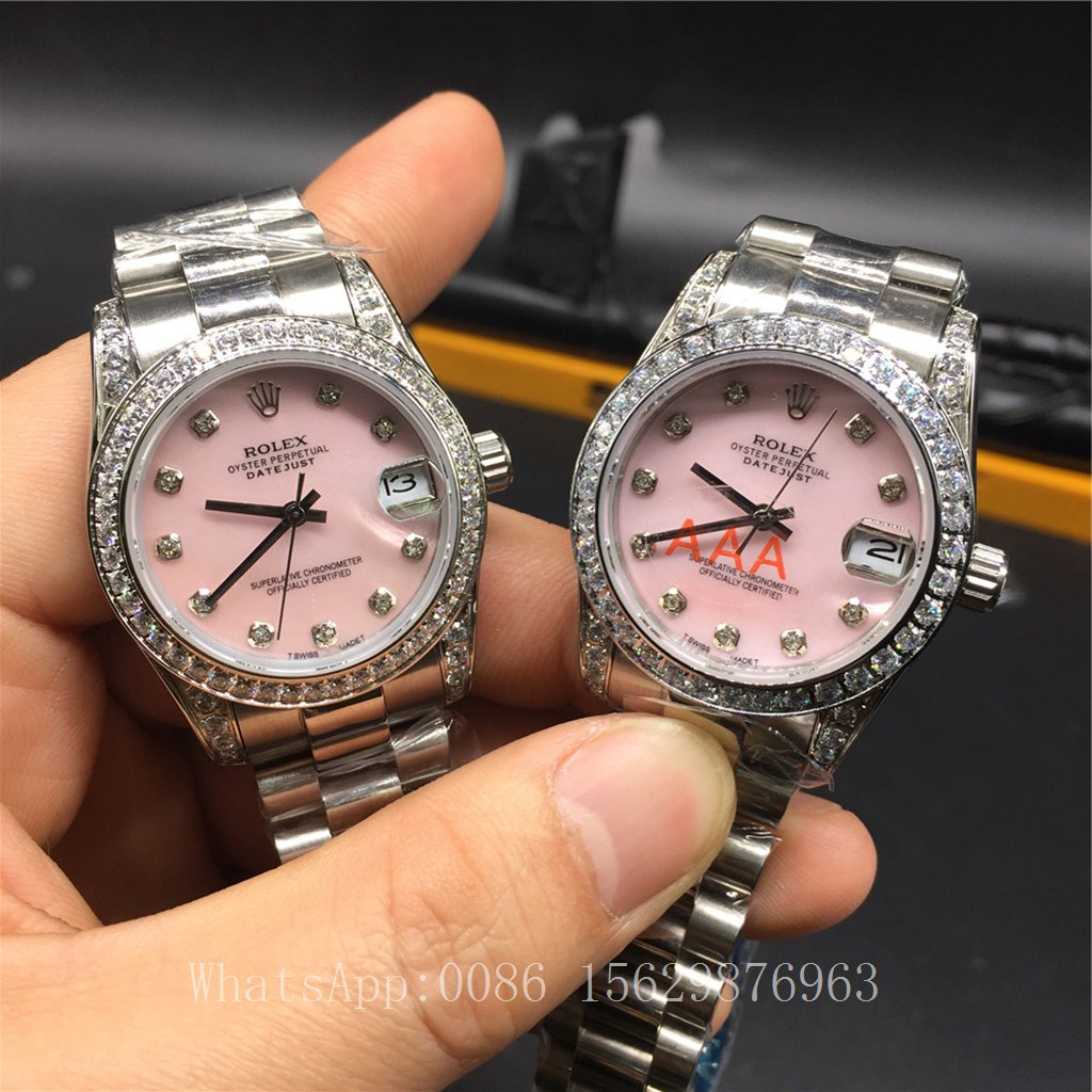 R030Z2, Rolex Datejust Women 31mm Diamonds bezel Pink dial