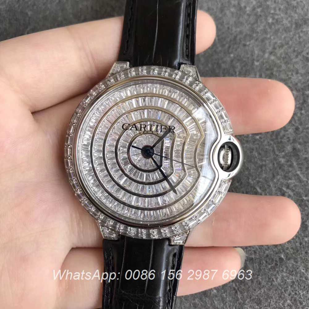 C270WT74, Cartier Ballon Bleu diamonds 42mm men's automatic watch