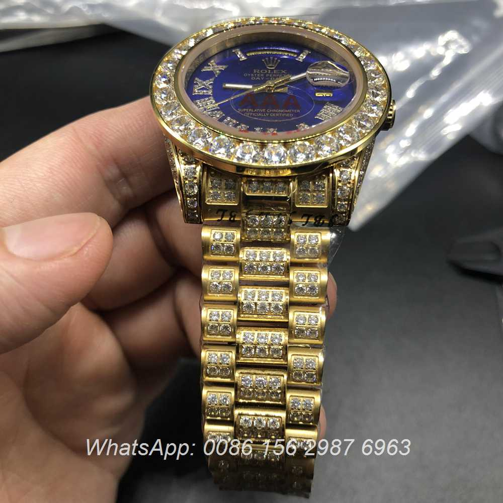 R097MH69, Rolex DayDate iced gold/blue