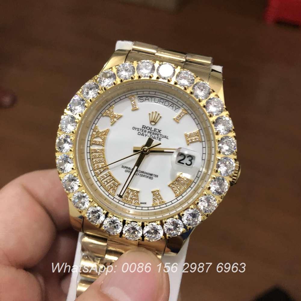 R031S34, Rolex DayDate Prongset bezel Gold 6 colors