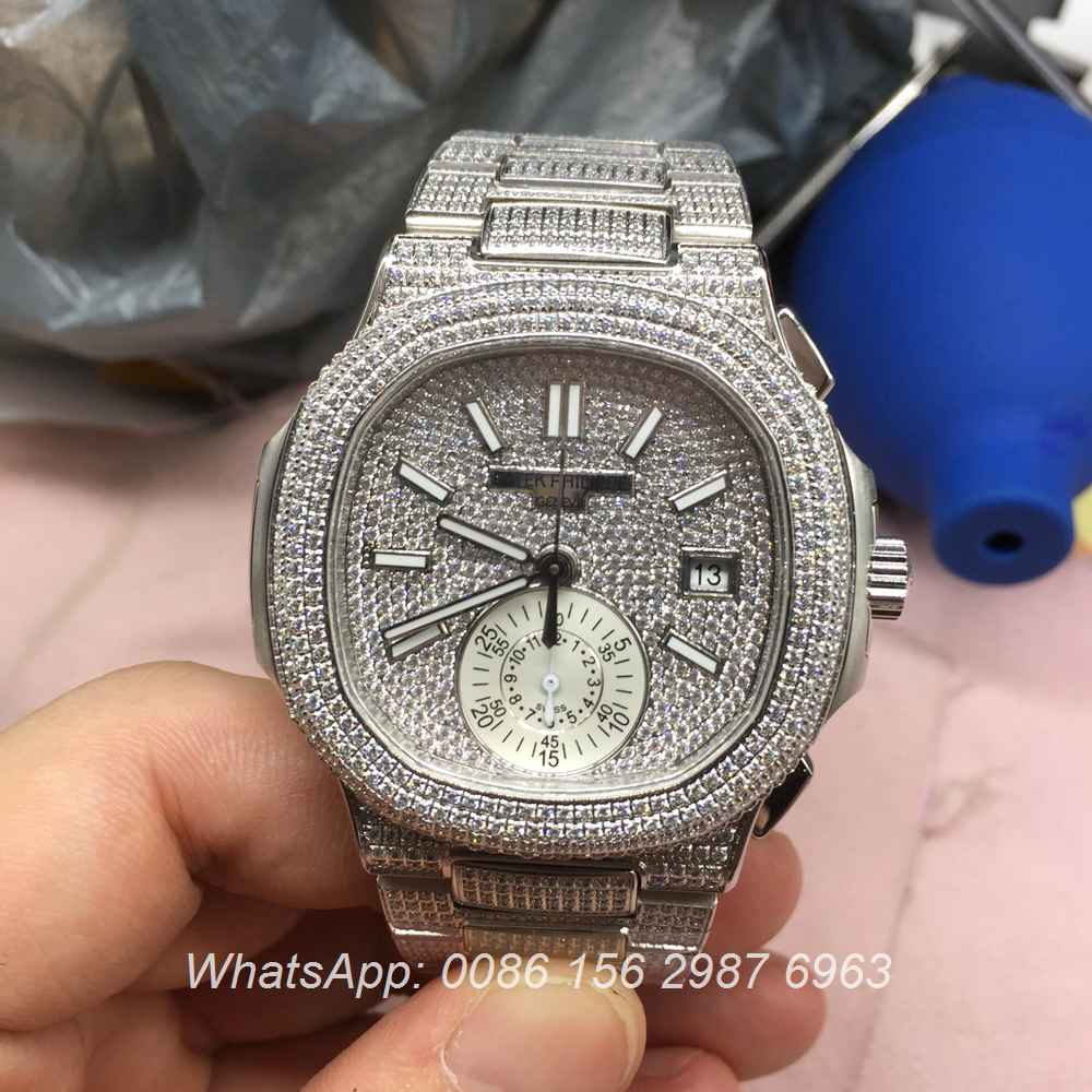 P280WT42, Patek full iced silver ETA 7750 Chronograph
