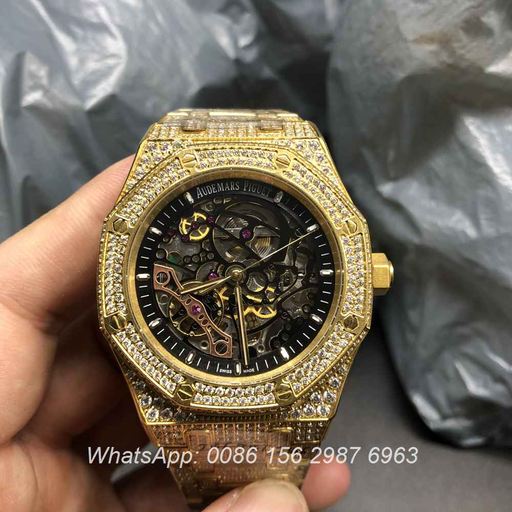 A180BL66, AP diamonds gold skeleton automatic