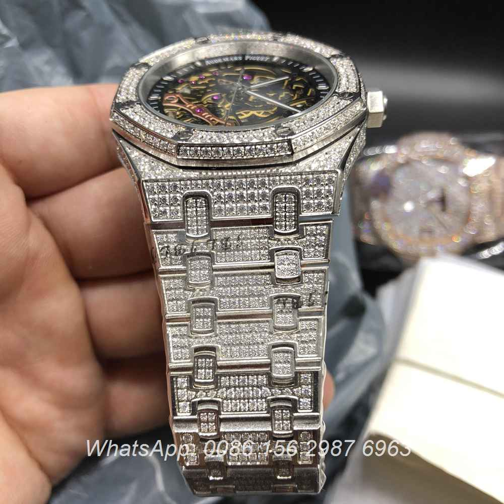 A180BL67, AP silver skeleton diamonds automatic