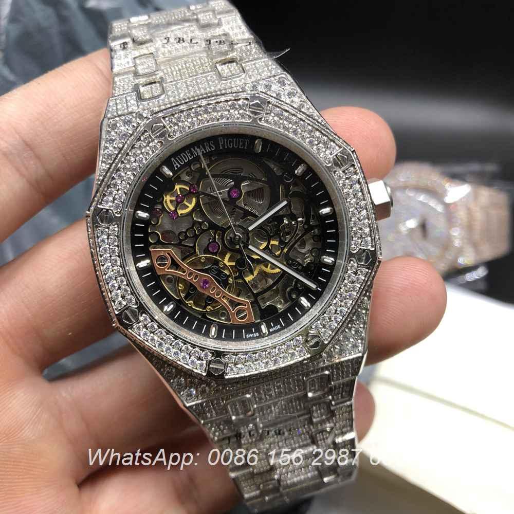 A180BL67, AP silver skeleton diamonds automatic