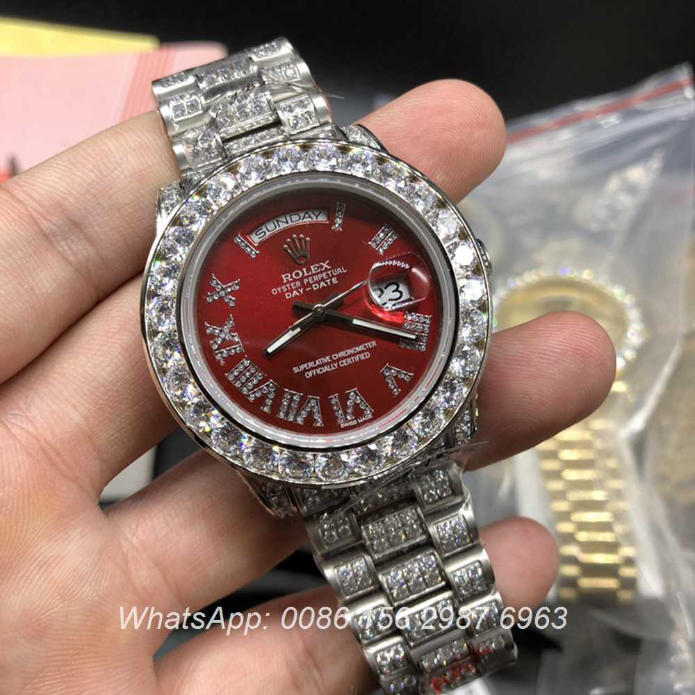 R092MH51, Rolex DayDate bright red face full diamonds