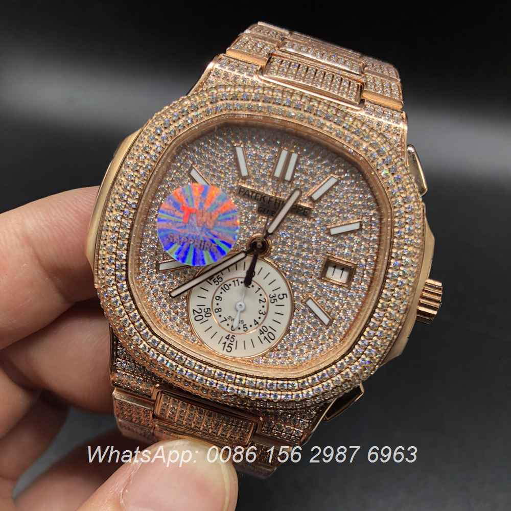 P290WT43, Patek iced rose gold case ETA 7750 chronograph