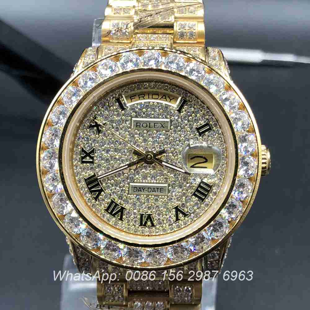 R097MH48, Rolex DayDate full iced gold case diamonds face