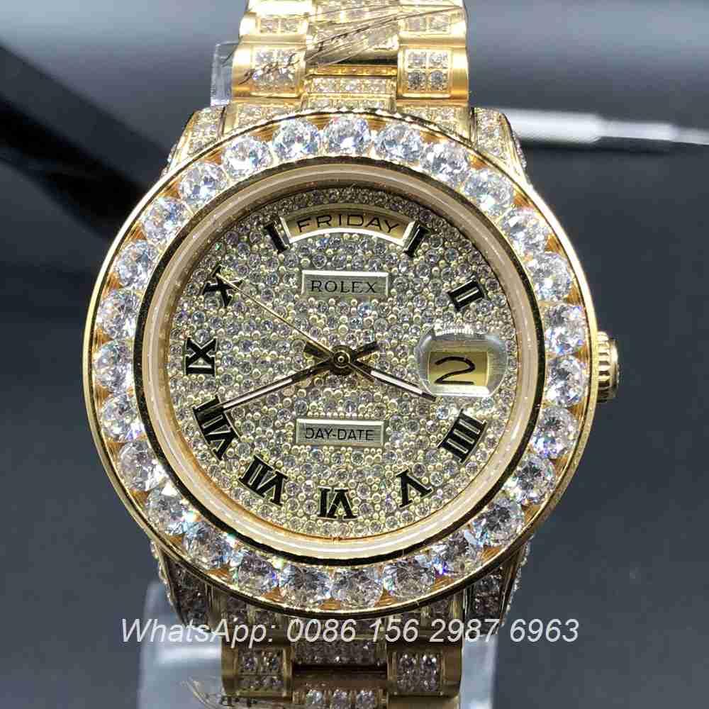 R097MH48, Rolex DayDate full iced gold case diamonds face