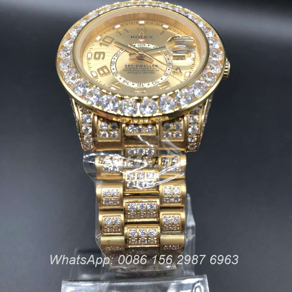 R097MH50, Rolex Sky-Dweller full iced gold