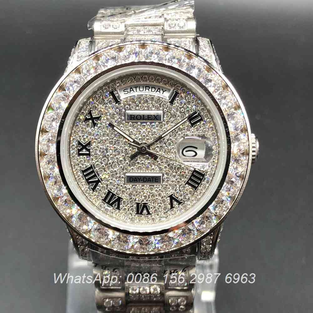 R092MH49, Rolex DayDate diamonds silver case