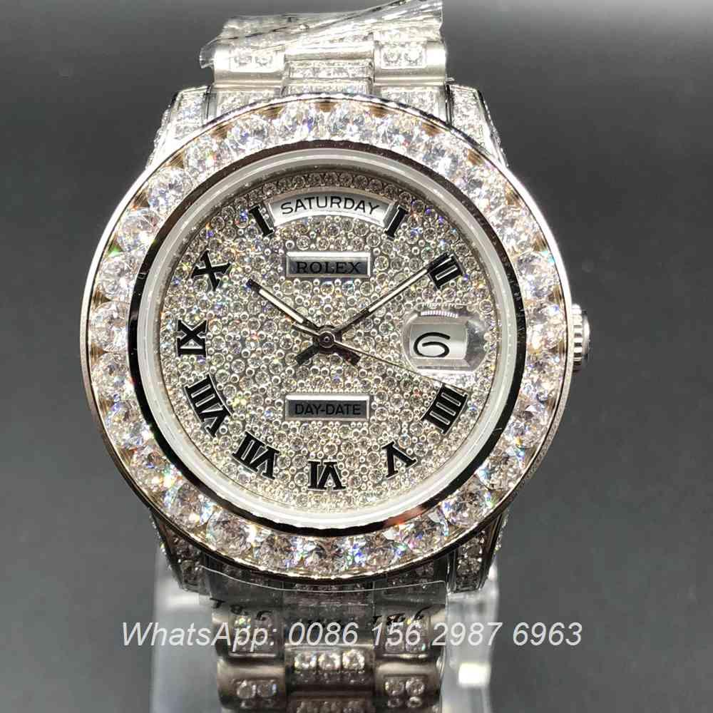 R092MH49, Rolex DayDate diamonds silver case
