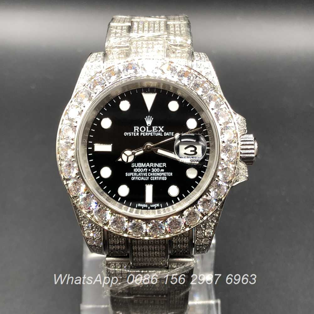 R105MH40, Rolex SUB full diamonds silver case