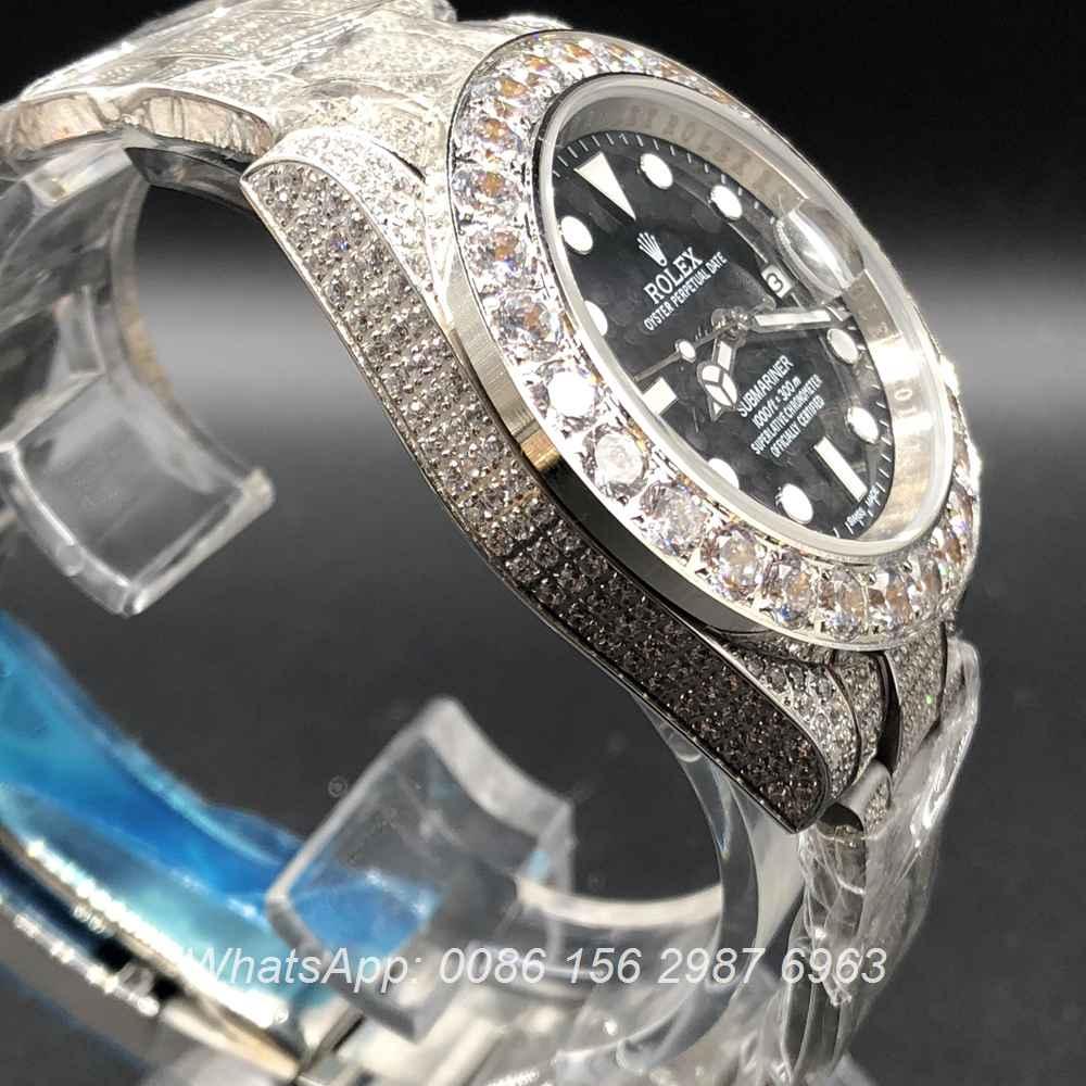 R105MH40, Rolex SUB full diamonds silver case