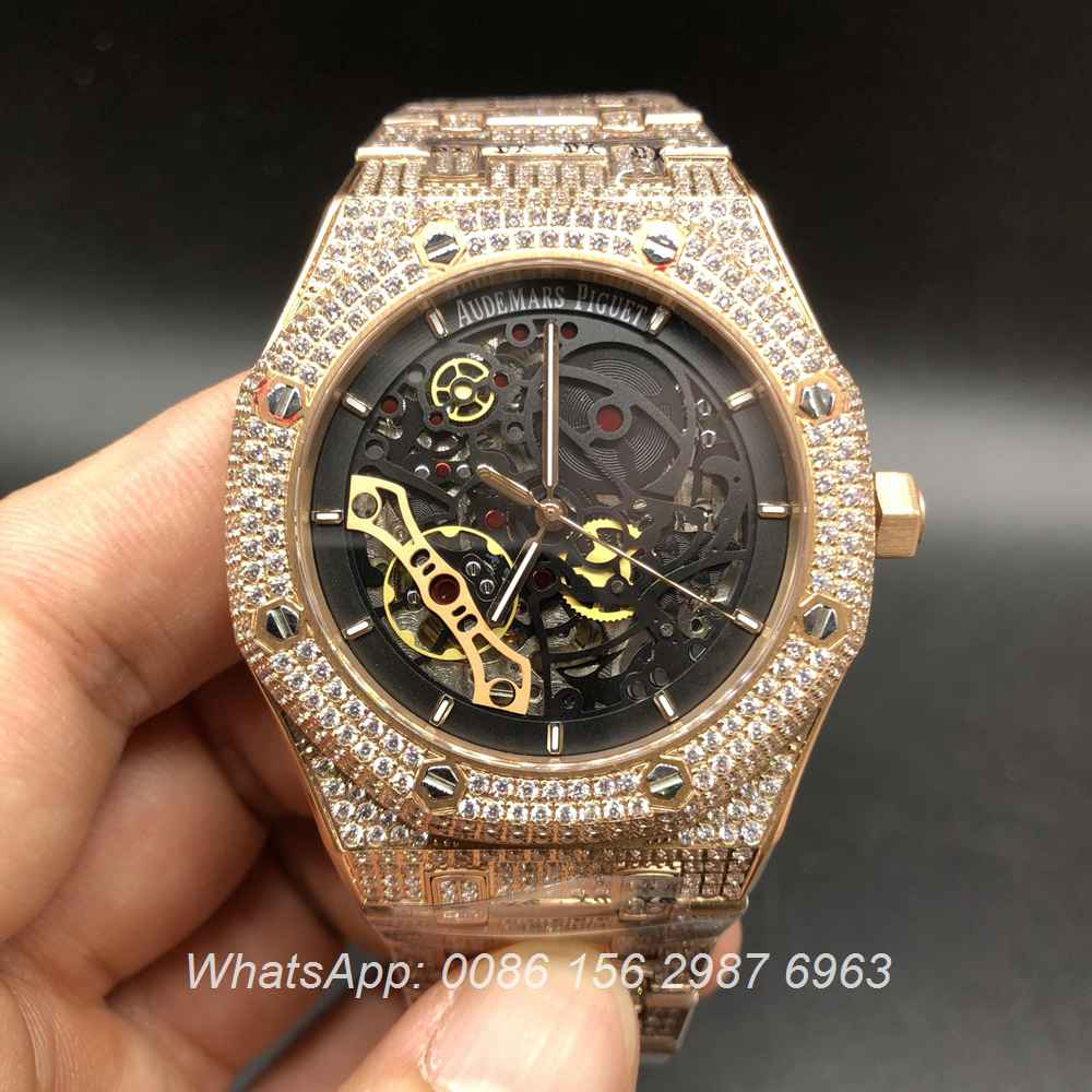 A155XJ84, AP iced rose gold skeleton automatic watch