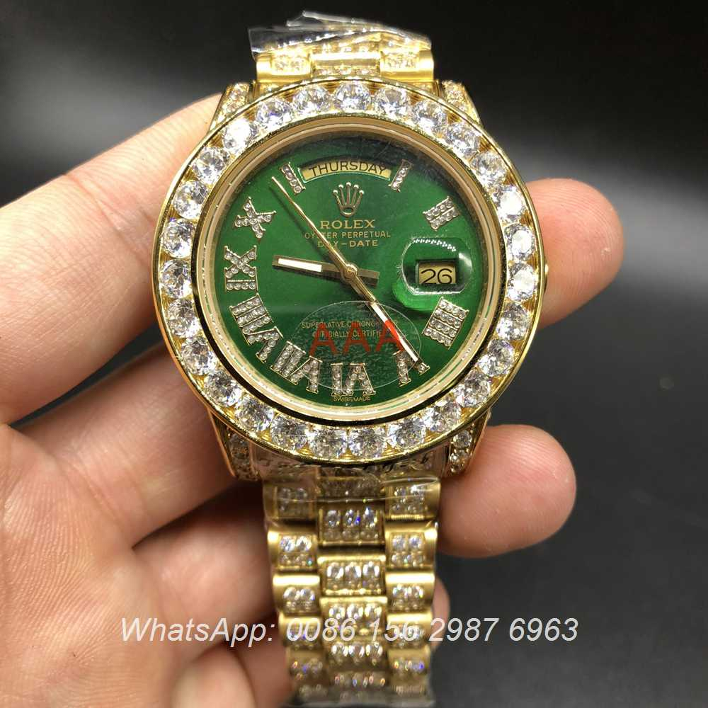 R097MH85, Rolex iced gold case green dial DayDate