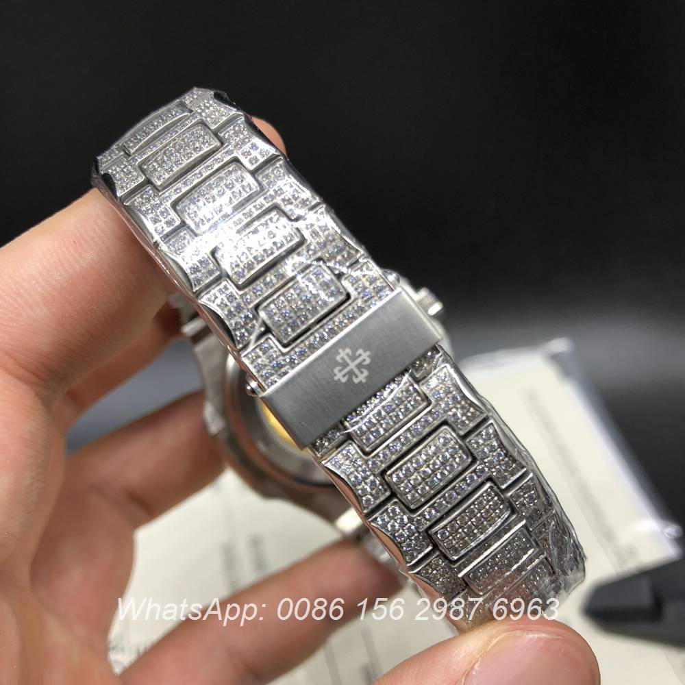 P170XJ87, Patek full iced silver automatic Nautilus 5719