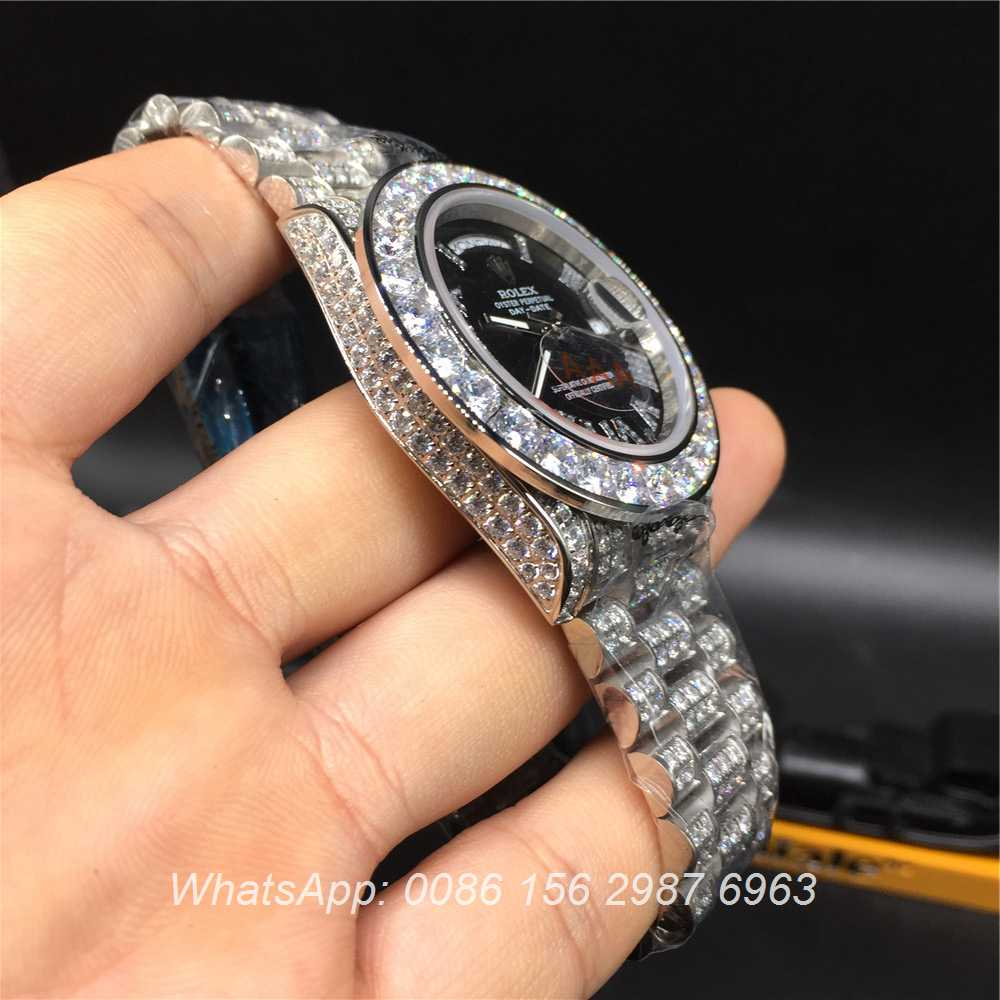 R092MH56, Rolex DayDate silver/black diamonds