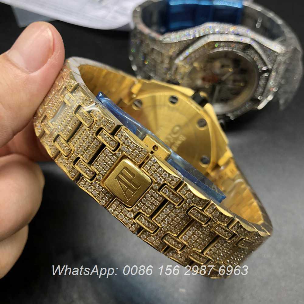 A175XJ44, AP diamonds Gold case black dial Quartz movement