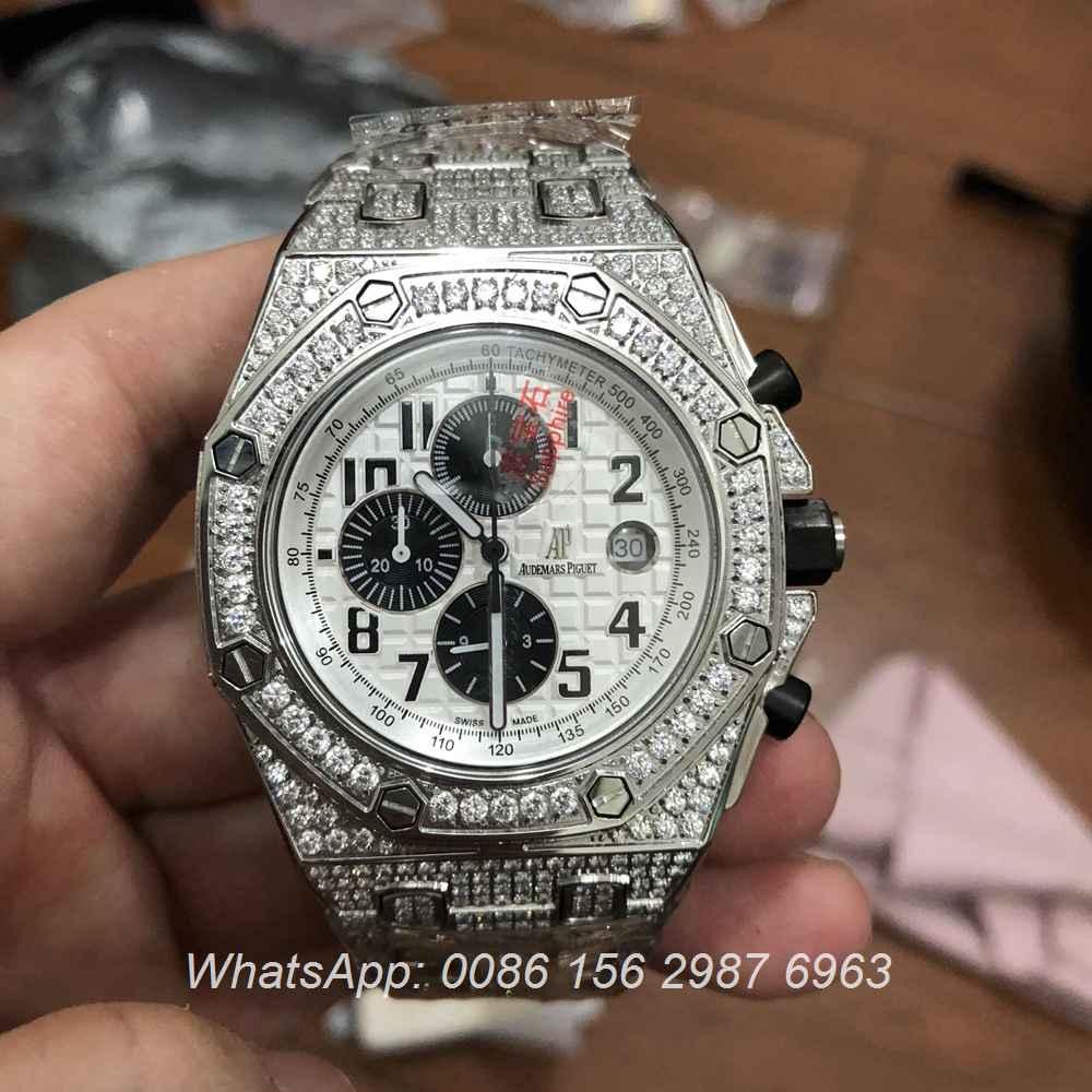 A165XJ45, AP diamonds silver white quartz
