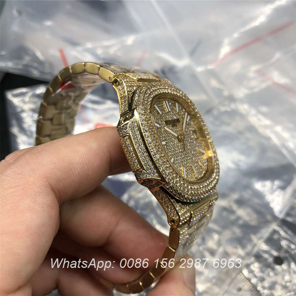 P260WT37, Patek Philippe iced Gold case shiny diamonds Swiss