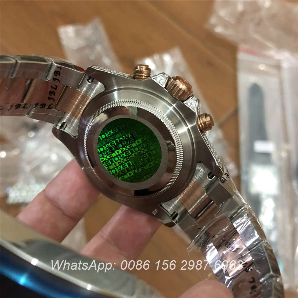R115MH78, Rolex YM two tone rose gold blue bezel full iced