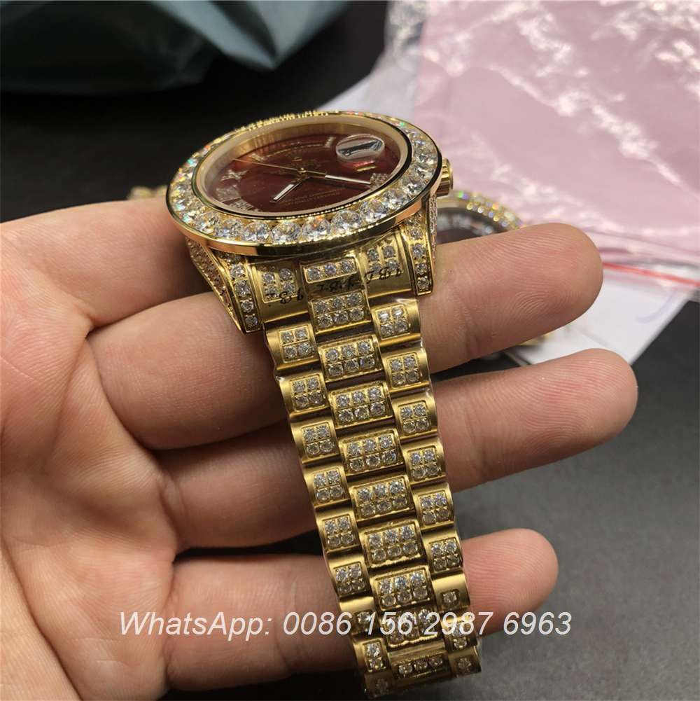 R097MH54, Rolex DayDate diamonds gold case with red dial