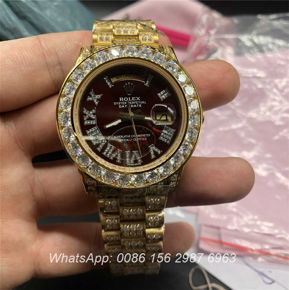R097MH55, Rolex DayDate Dark red dial iced gold