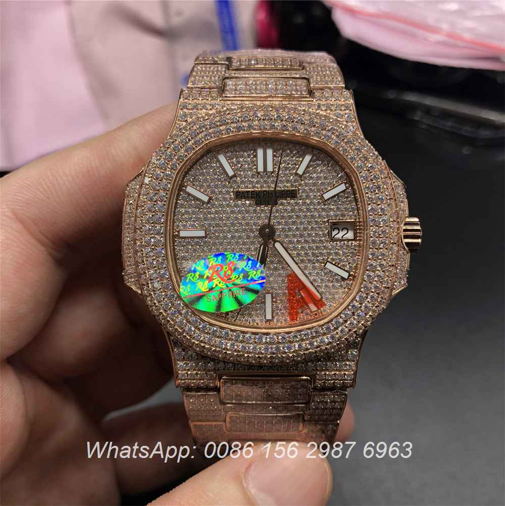 P260WT38, Patek Philippe iced rose gold case Swiss