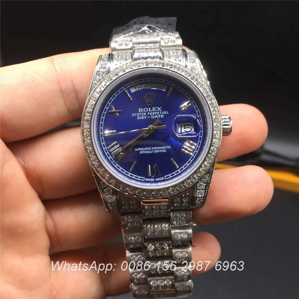 R092MH39, Rolex DayDate iced silver case blue dial 36mm