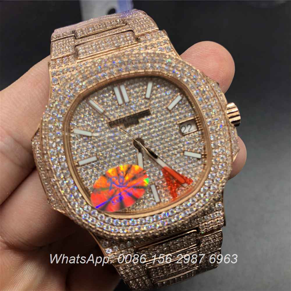 P260WT38, Patek Philippe iced rose gold case Swiss