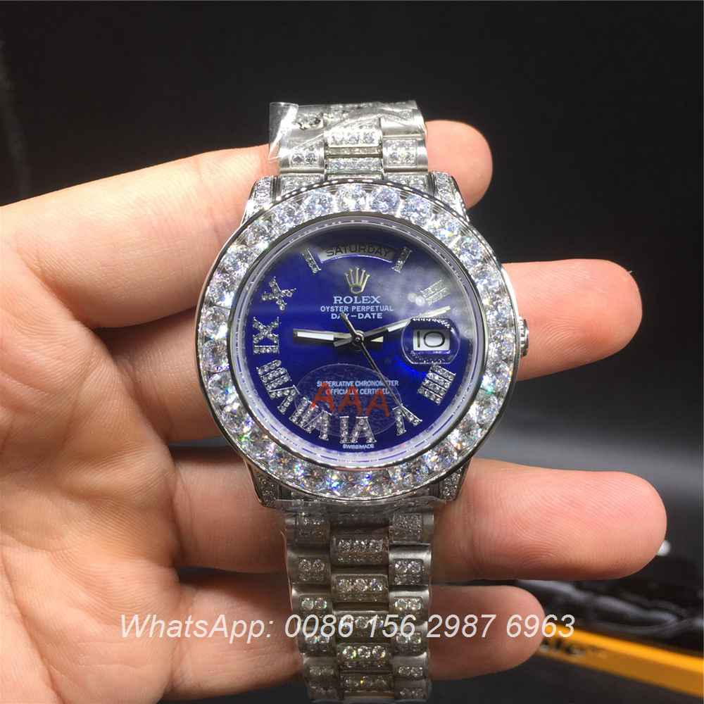 R92MH70, Rolex DayDate blue full diamonds 40mm