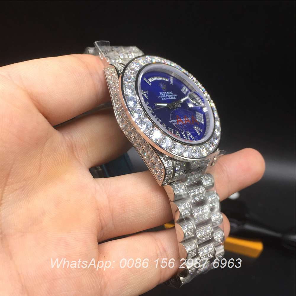 R92MH70, Rolex DayDate blue full diamonds 40mm