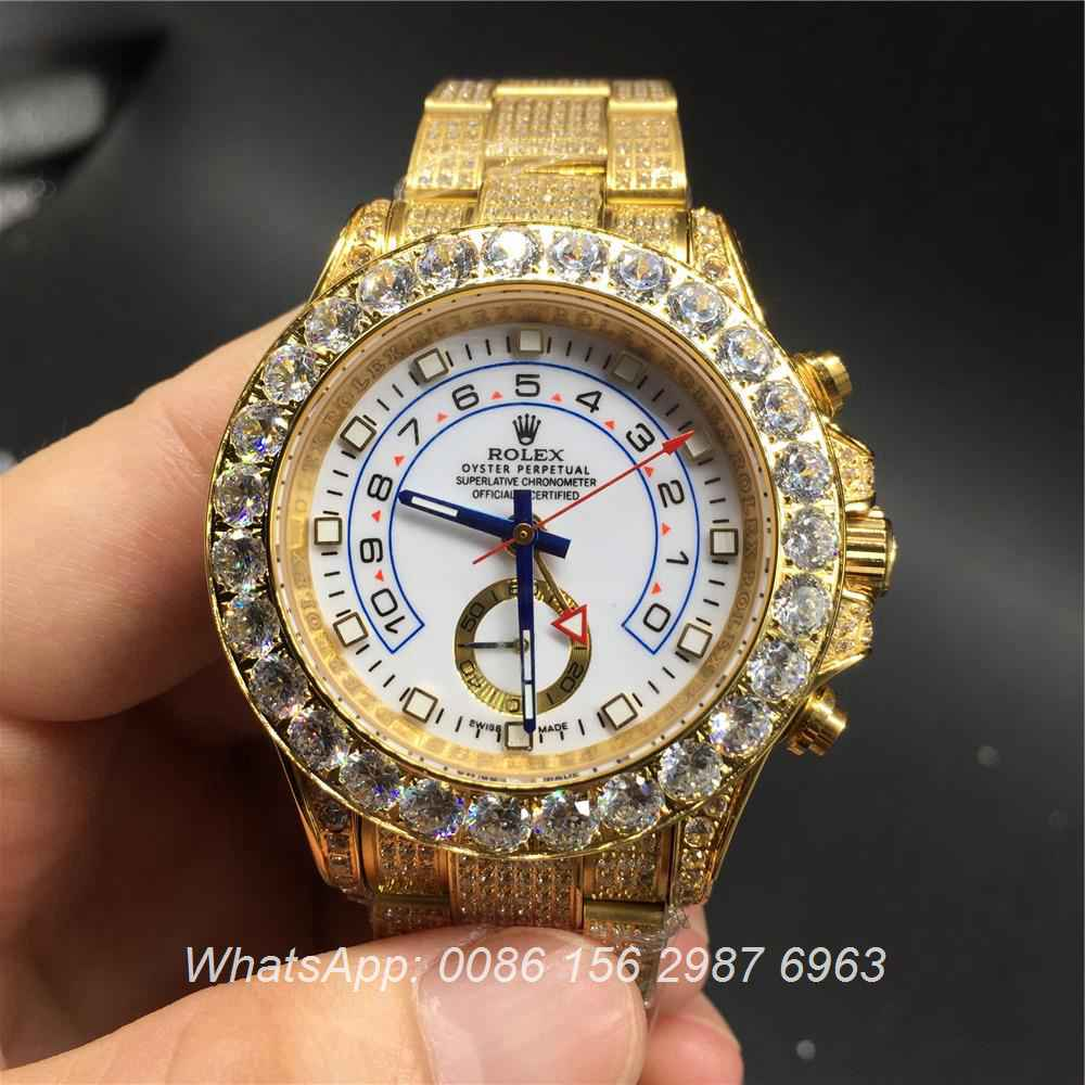 R115MH31, Rolex YM iced gold case 41mm diamonds