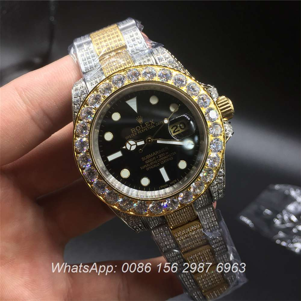 R110MH47, Rolex SUB bi-gold full iced