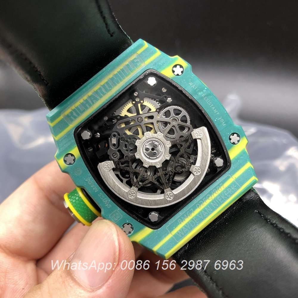 R130JJ92, RM67-02 Carbon green case velcro green strap Miyota automatic