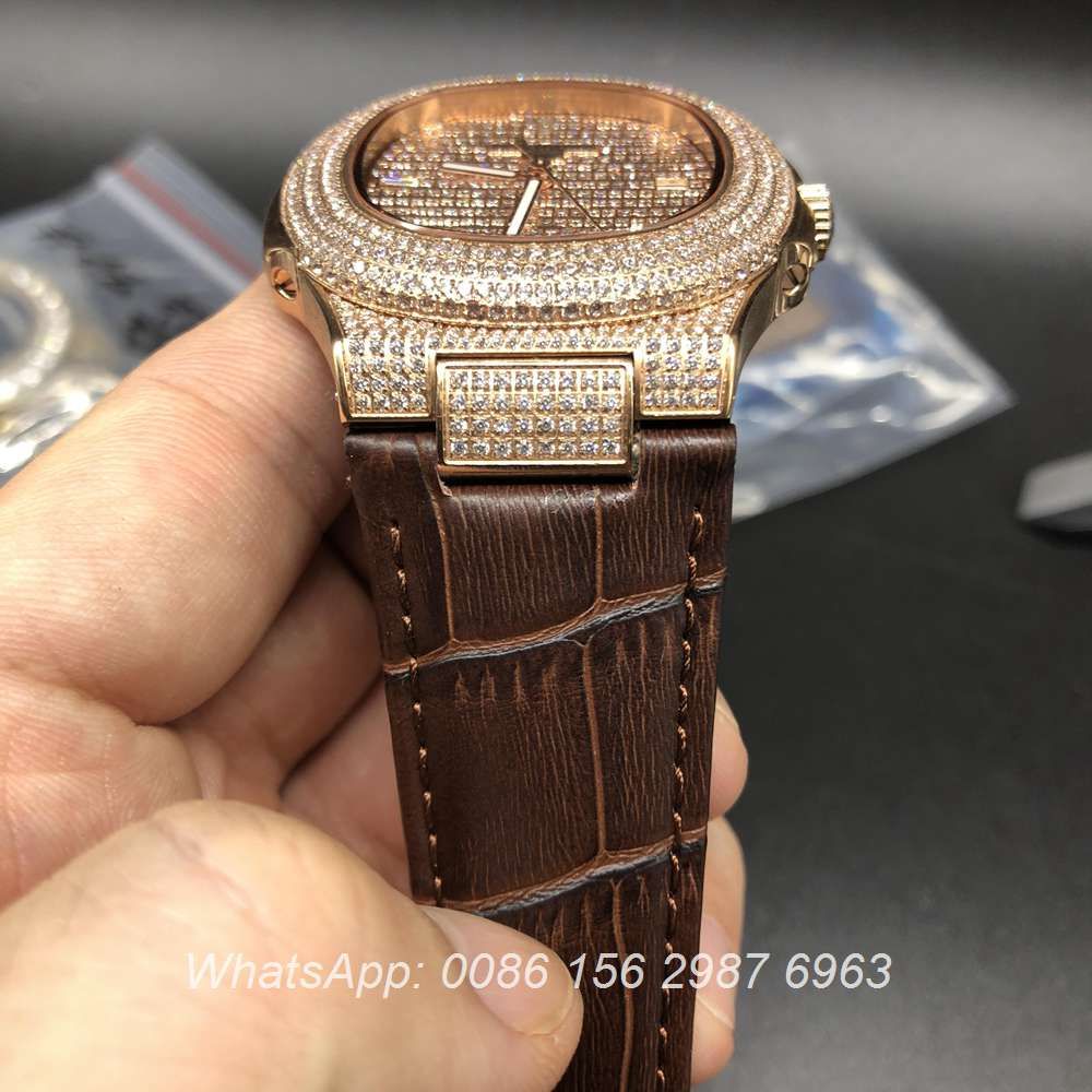 P085XJ96, Patek iced rose gold with brown leather automatic