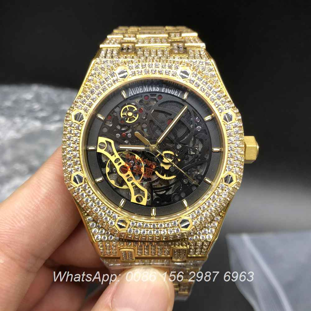 A155XJ93, AP Yellow gold skeleton full iced automatic shiny diamonds