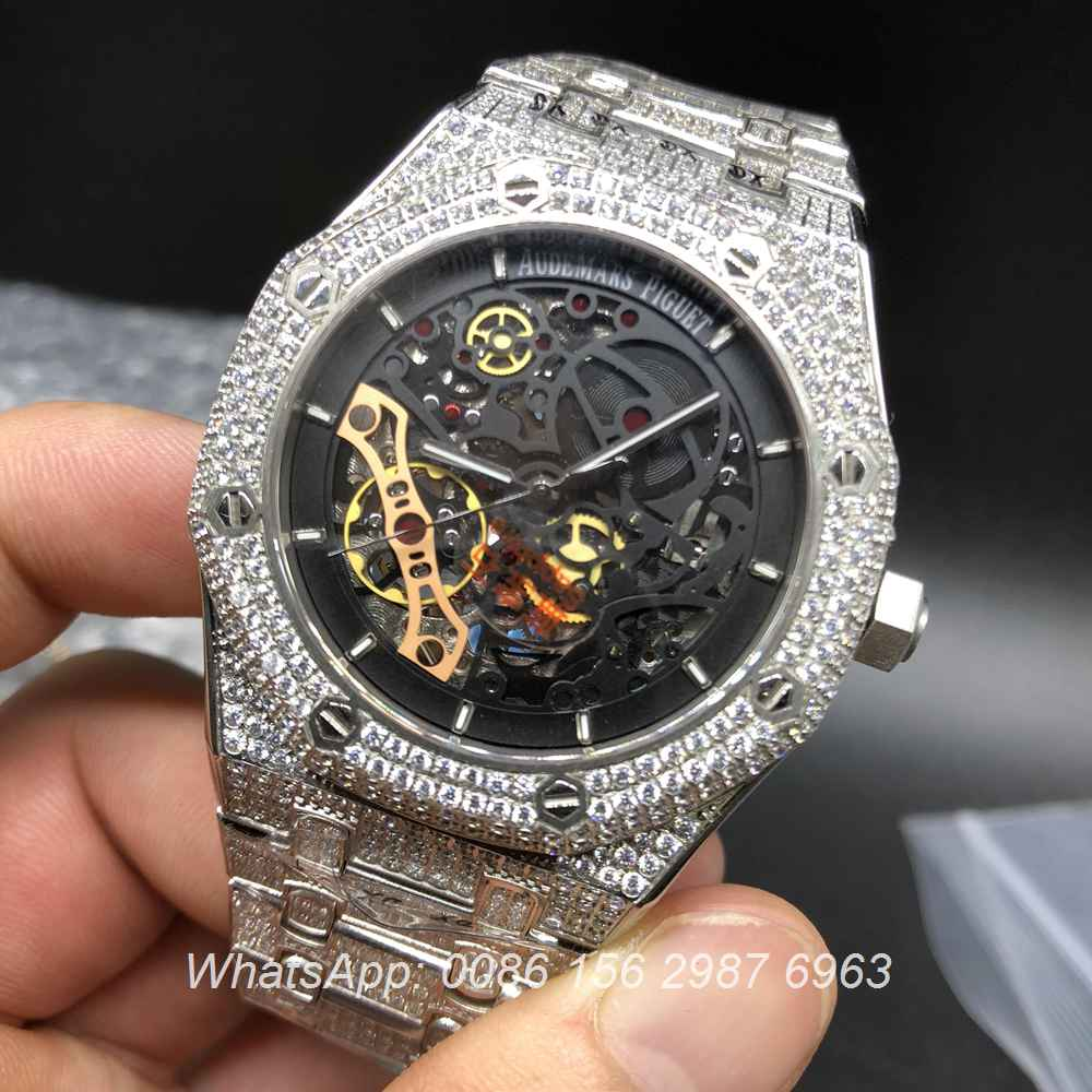 A155XJ94, AP iced silver case skeleton automatic