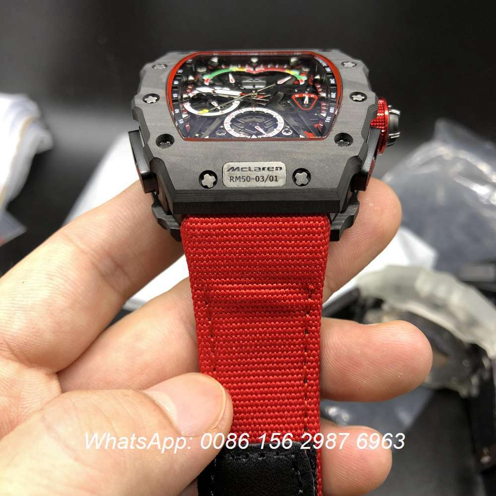 R095JJ101, RM50-03/01 Carbon case with red velcro strap