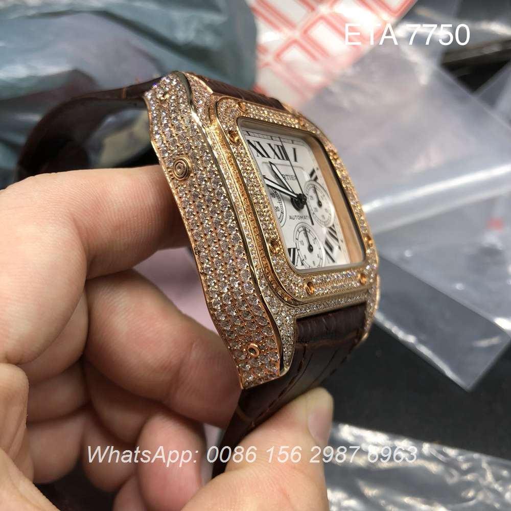 C160WT98, Cartier ETA 7750 diamonds rose gold 42mm