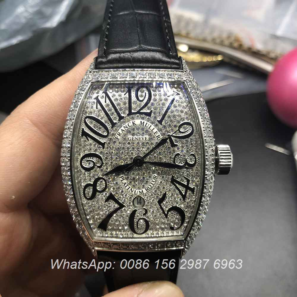 F0557D103, FM watch Franck Muller iced silver case automatic