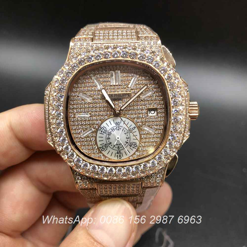 P250BL105, Patek Philippe full iced rose gold automatic big diamonds bezel
