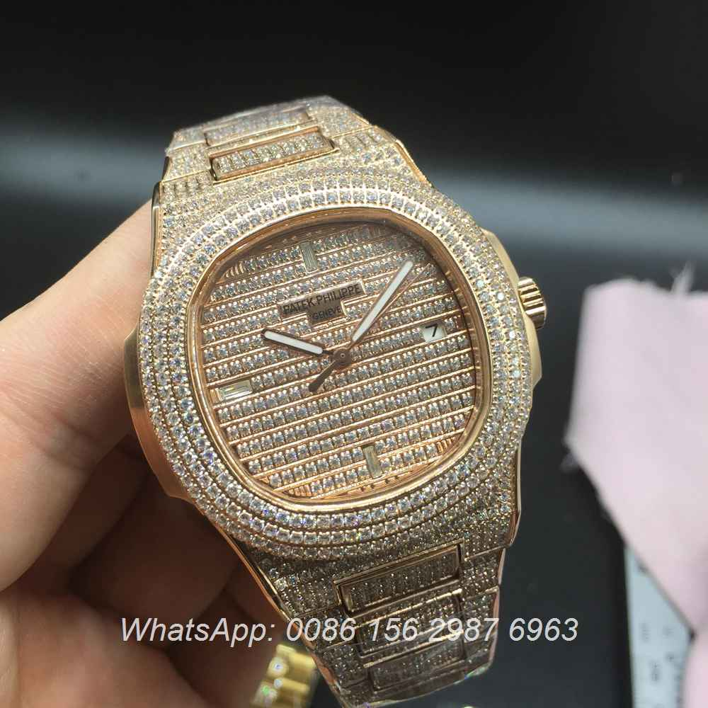 P180XJ108, Patek iced out rose gold automatic full diamonds