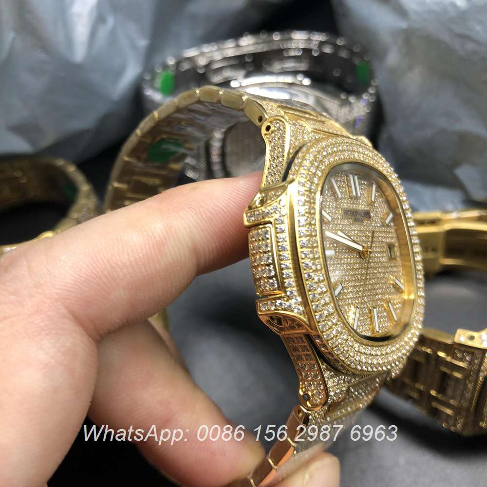 P180BL109, Patek yellow gold full iced out automatic watch