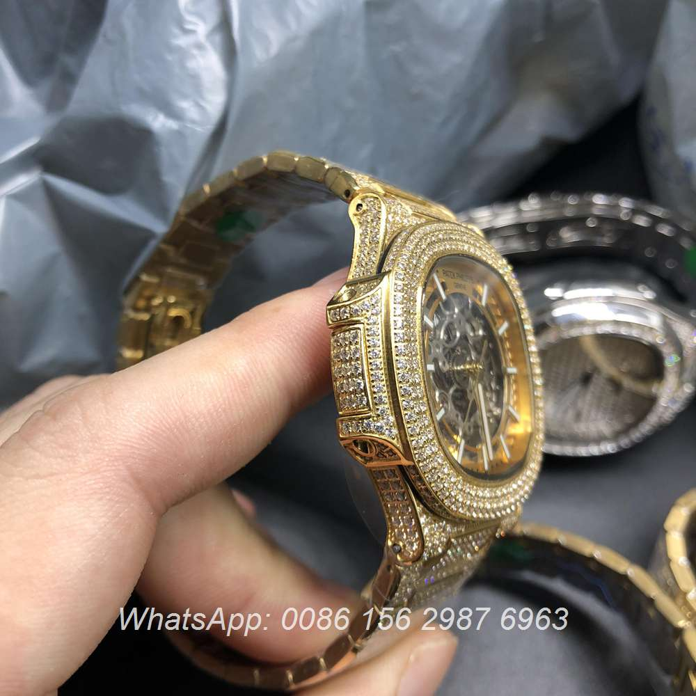 P180BL110, Patek skeleton iced out yellow gold case automatic