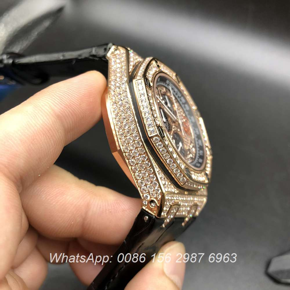 A075XJ111, AP diamonds rose gold case quartz movement black leather