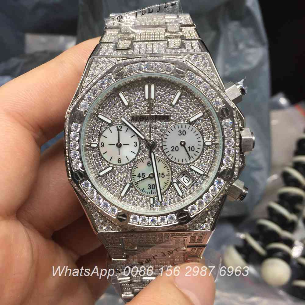 A150BL125, AP full iced out VK quartz chronograph function watch
